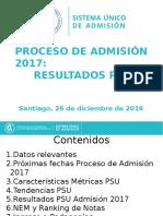 Resultados PSU Admisión 2017