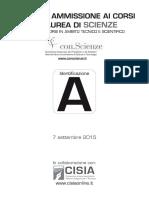 TEST SELEZIONE SCIENZE 2015 Matematica ComprensioneTesto