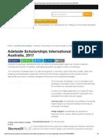 Adelaide Scholarships International (ASI), 2017 Scholarship Positions 2016 2017