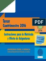 Instrucciones Para La Matricula 2016 III Cuatrimestre