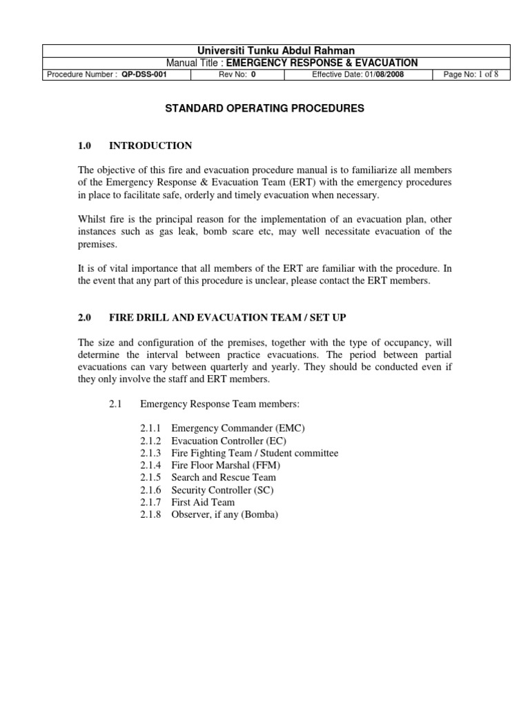 Emergency Response and Evacuation Procedures Manual | Emergency
