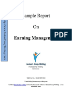 Sample Report On Earning Managment