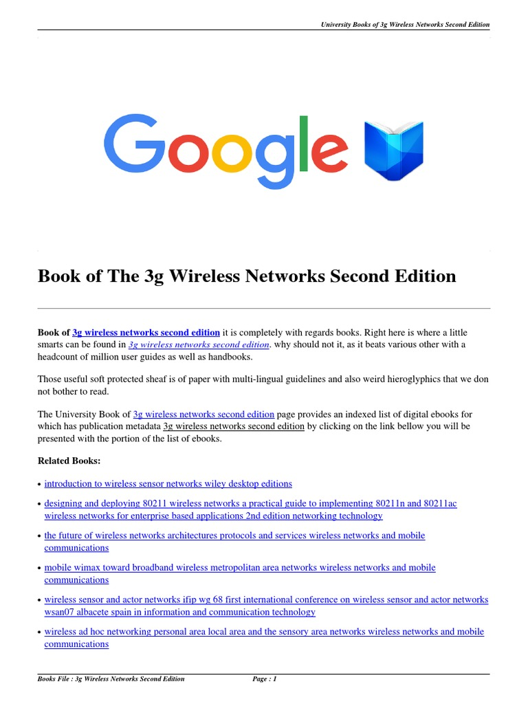 Download 3g Wireless Networks Second Edition.pdf | Wireless | Wireless  Sensor Network