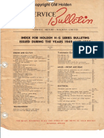 Index for Holden H-G Series Bulletins Issued Durinf the Years 1949 and 1950