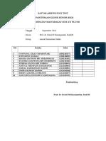 Daftar Absensi Post Test