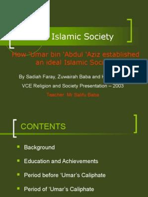 An Ideal Society Umar Ibn Abdul Aziz (1) | Caliphate | Umar