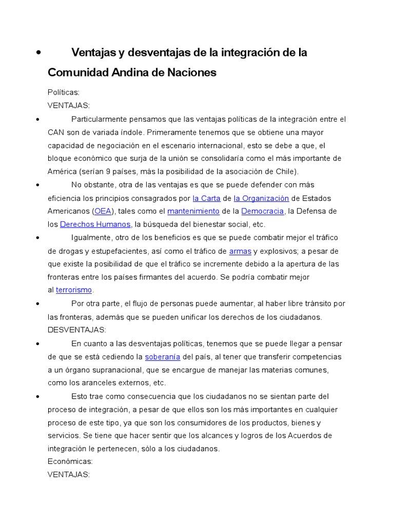 Ventajas y Desventajas de La Integración de La Comunidad Andina de ...