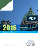 Balance de Gestión 2016 Leyes y Media Sanciones