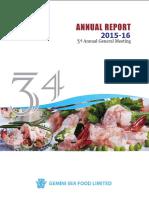 Annual Report 2015-16 Gemini Sea Food Ltd