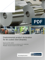 Environmental Product Declaration for Tin Coated Steel Tinplate