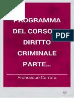 Carrara - Programma Del Corso Del Diritto Criminale - Parte Generale
