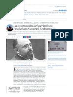 Cerro Malagón, Rafael Del, La Aportación Del Periodista Francisco Navarro Ledesma (I)