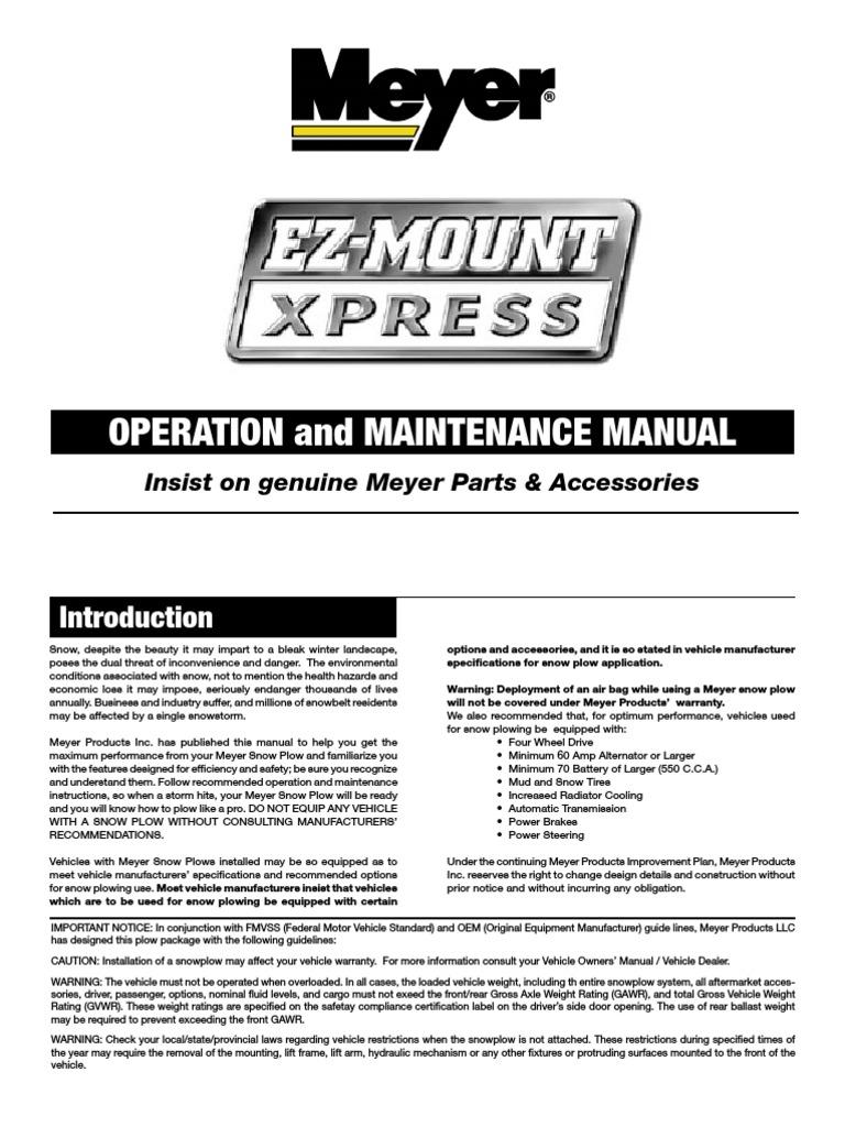Meyer Ez Mount Xpress Snow Plough Meyers Plow Parts