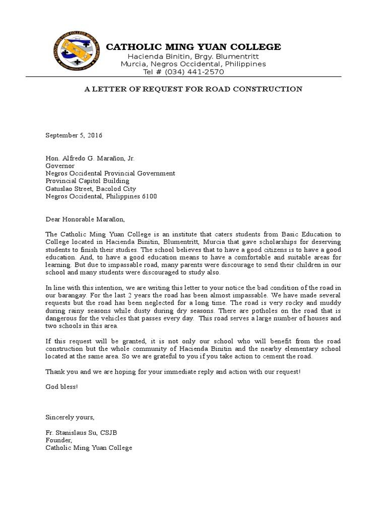 A sample letter of request for road construction spiritdancerdesigns Images
