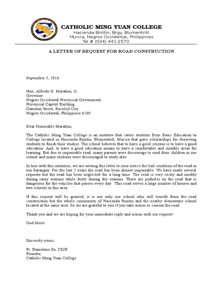 A sample Letter of Request for Road Construction