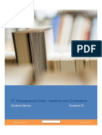IT Management Issue Analysis Evaluation