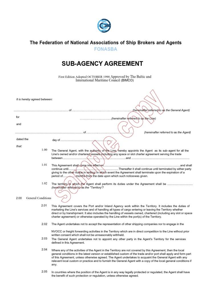 Sample Copy Fonasba Sub Agency Agreement Arbitral Tribunal