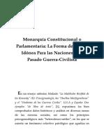 Monarquía Constitucional o Parlamentaria. La Forma de Estado Idónea Para Las Naciones Con Pasado Guerra-Civilista