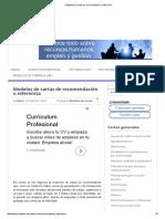 Modelos de Cartas de Recomendación o Referencia