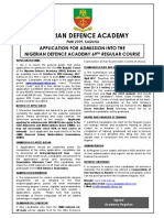 Application for Admission Into the NDA 69 RC 2016