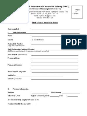 Seip Trainee Admission Form Ttti