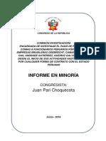"""Informe en Minoría de la """"Comisión Lava Jato"""" del Congreso de La República del Perú"""