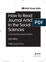 How to Read Journal Articles in the Social Sciences