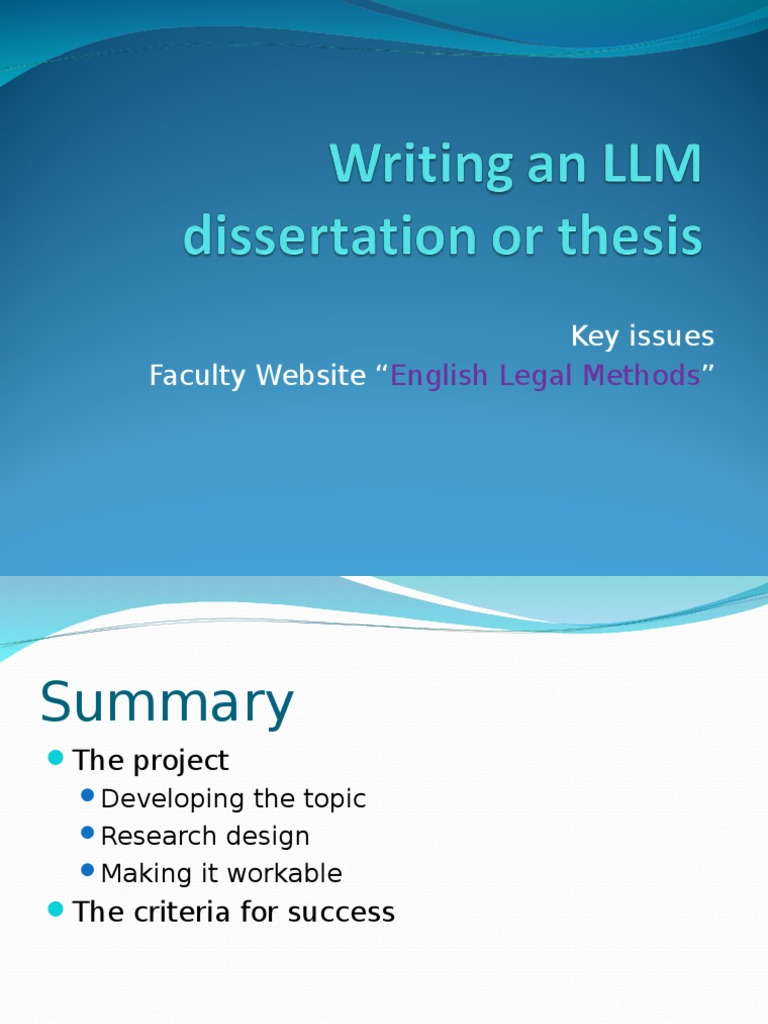 Dissertation handbook ucl llm