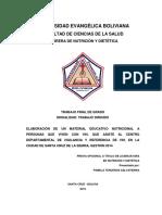 Elaboración de Un Material Educativo Nutricional a Personas Que Viven Con Vih, Santa Cruz de La Sierra, Gestión 2014
