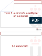 Tema 1 La Dirección Estratégica en La Empresa Parte I