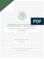 Programa de Accion Especifico Alimentacion y Actividad Fisica 2013 2018