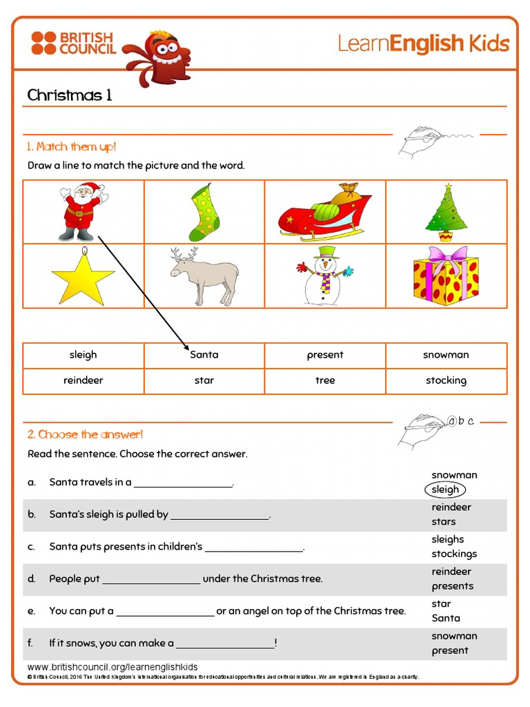 Worksheets Christmas 1