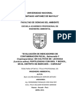 EVALUACIÓN DE INDICADORES DE CONTAMINACIÓN FECAL, Salmonella Y Cryptosporidium EN CULTIVOS DE LECHUGA (Lactuca sativa), FERTILIZADAS CON BIOL Y BIOSOL, EN EL DISTRITO DE MARCARÁ – CARHUAZ