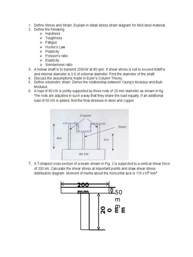 Som Question Bank Bending Stress Mechanics Draw Shear Force Diagram
