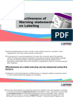 Effectiveness of Warning Statements on Labeling