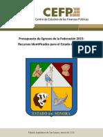 Presupuesto Identificado Para Las Entidades Federativas Sonora