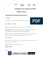 List of Formulas for Quant of SSC CHSL Tier I