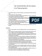 Aspectos Más Importantes de Los Pasos Seguidos en La Transcripción