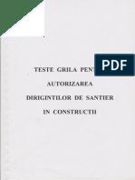 Teste Grila Autorizare Diriginti Santier