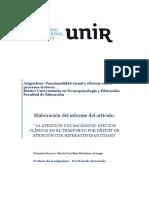 Informe Del Articulo La Atencion y El Sacadicos Efectos Clinicos Por Tdah