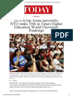 NTU Ranks 55th NUS is Top Asian Uni - Times Higher Education World University Ranking