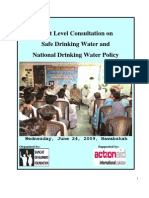 Sangat Sindh Report on Seminar on Safe Drinking Water Policy Report