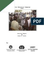 Sangat Sindh Report on Voter Education