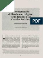 La Comprensión Del Fenómeno Religioso y Sus Desafíos a Las Ciencias Sociales