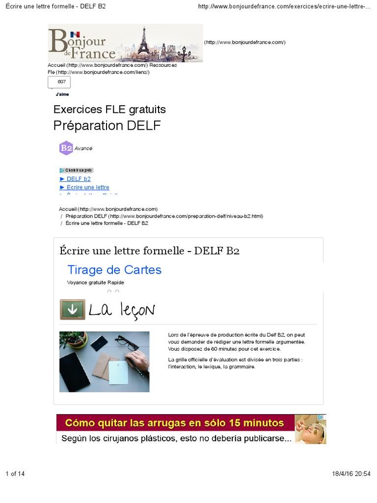 Écrire une lettre formelle   DELF B2