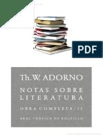 Theodor W Adorno Notas Sobre Literatura PDF