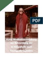 Kurze Meditationsanleitung zur Betrachtung der 32 Körperteile nach Taungpulu Sayadaw