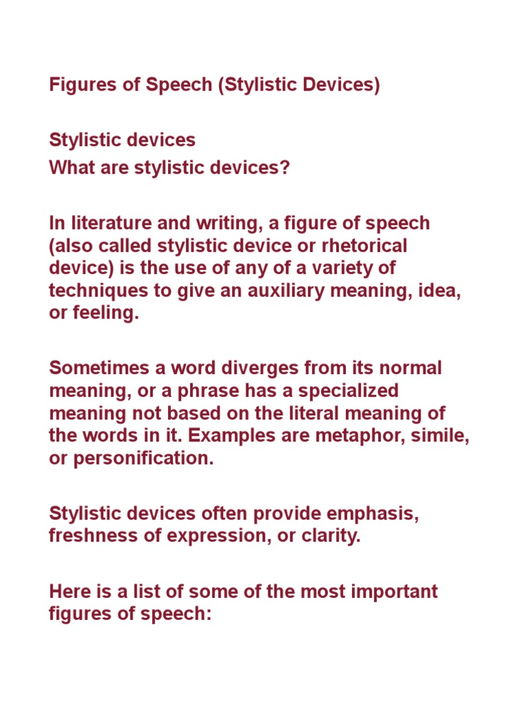 Figures Of Speechpdf Irony Literary Techniques