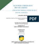 Aravali power corporation internship Report (1) ( Thermal Power Plant)