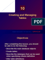 Chapter 10 - Creating and Managing Tables